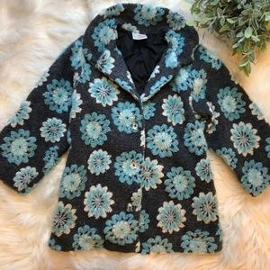 Girl's Hannah Anderson Floral Fuzzy Peacoat Jacket